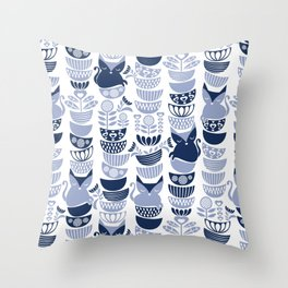 Swedish folk cats III // white background pale and navy blue kitties & bowls Throw Pillow