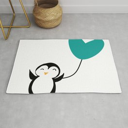 Penguin in love White Rug