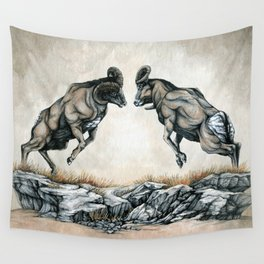 Fighting Bighorn Sheep Rams Wall Tapestry
