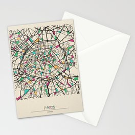 Colorful City Maps: Paris, France Stationery Cards
