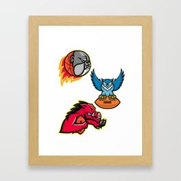 American Football and Basketball Wildlife Sports Mascot Collection Framed Art Print
