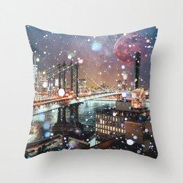 New York City Lights Manhattan Rooftop City Views Throw Pillow