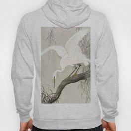 Heron sitting on a tree  - Vintage Japanese Woodblock Print Art Hoody