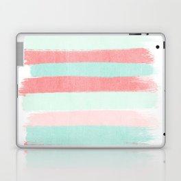 Painterly Stripes abstract trendy colors gender neutral seaside coral tropical minimal Laptop & iPad Skin