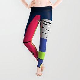 City in Space Bright Coloured Art Leggings