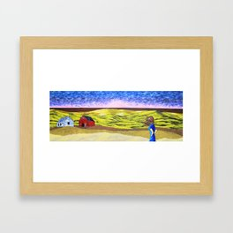 Life on the American Plains by Mike Kraus - art great yellow blue female woman figure landscape sun Framed Art Print