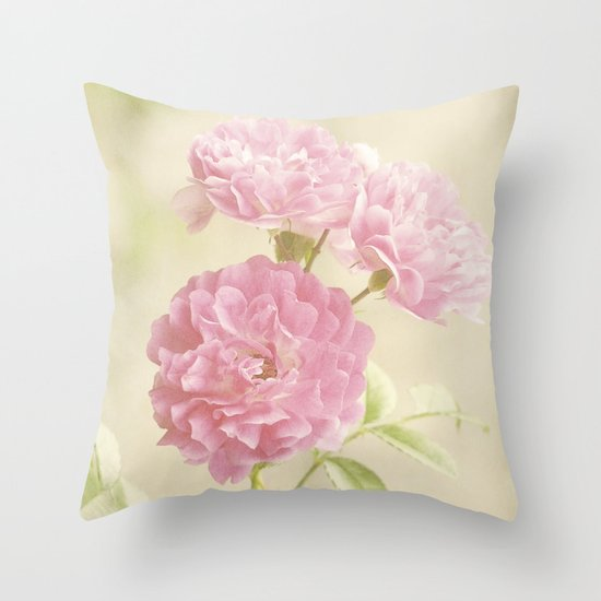 Vintage Pink Ruffled Roses II Throw Pillow