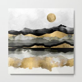Golden Spring Moon Metal Print