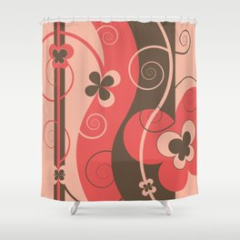 Modern Retro Butterfly Floral Graphic Art Shower Curtain