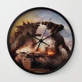 Godzilla vs King Kong Moster Fight Movies Art Print Decor Home Poster Wall Clock