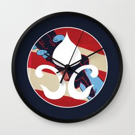 Red, White and Blue Color Casper Blooming Brush Logo Wall Clock