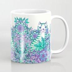 Garden Cat doodle in purple, blue & green Mug