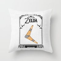 the legend of zelda Throw Pillows featuring Zelda legend - Boomerang by Art & Be