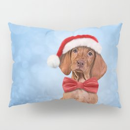 Drawing funny Vizsla pointer in red hat of Santa Claus Pillow Sham