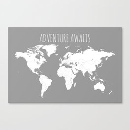 Wallart By Map Sappy Society - Grey world map poster