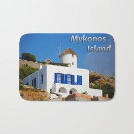 House and Windmill - Mykonos Island Greece Bath Mat