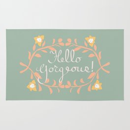 Hello Gorgeous!  Love Yourself Inspirational Quote Illustration Rug