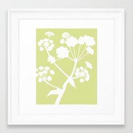 Ferula in Meadow Green - Original Floral Botanical Papercut Design Framed Art Print