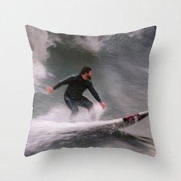 Surfer riding a wave Throw Pillow
