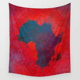Africa map 3D red blue #africa #map Wall Tapestry