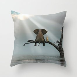 elephant and dog sit on a tree during a flood Throw Pillow