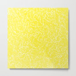 Chaotic white tangled ropes and yellow pastel lines. Metal Print