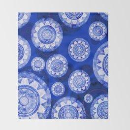 Deepest Blue Floating Vintage Boho Mandala Print Throw Blanket