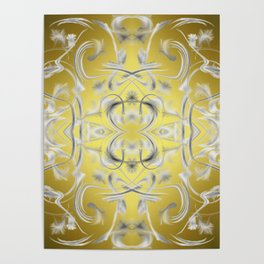 silver Digital pattern with circles and fractals artfully colored design for house and fashion Poster