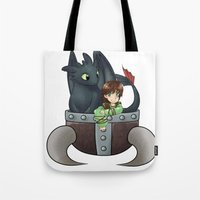 hiccup Tote Bags featuring Hiccup and Toothless in a Helmet by snowrunt