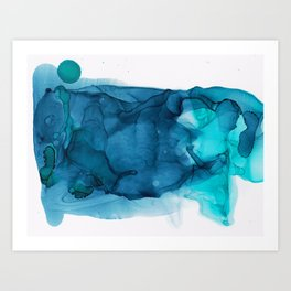 Teal and Green Abstract Art Print