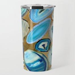 Blue Sea Agates on gold Travel Mug