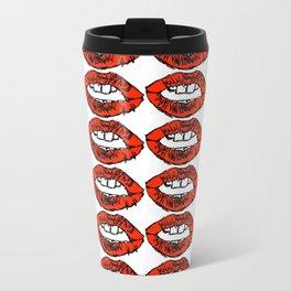 Lips Repeat Pattern Metal Travel Mug
