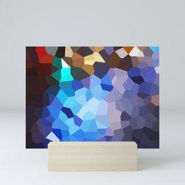 Neon lights, sidewalk reflections, pixelated Mini Art Print