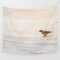 sparrow Wall Tapestries featuring sparrow by Marcel Derweduwen