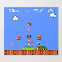 mario bros Canvas Prints featuring Super Mario Bros by Trash Apparel