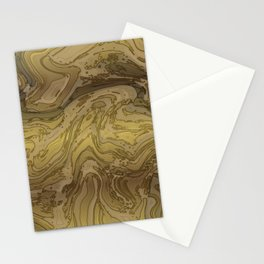Gold Metallic Topography Art Stationery Cards