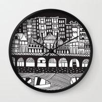 england Wall Clocks featuring Brighton, England by Caroline Rees