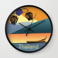 thailand Wall Clocks featuring Thailand by Shirong Gao