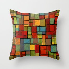 Stained Glass Geometric Pattern Throw Pillow