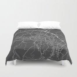 Bologna Map, Italy - Gray Duvet Cover