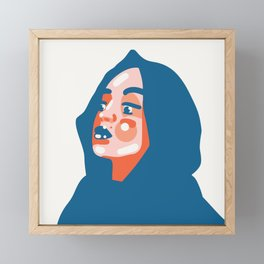 Fashion inspired - beautiful woman in a hood in simplified abstract vector shapes Framed Mini Art Print