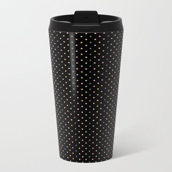 Small dots on black Metal Travel Mug