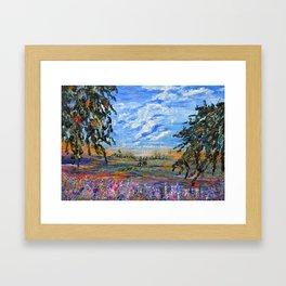 Peach Tree Valley, Impressionism landscape, modern impressionism Framed Art Print