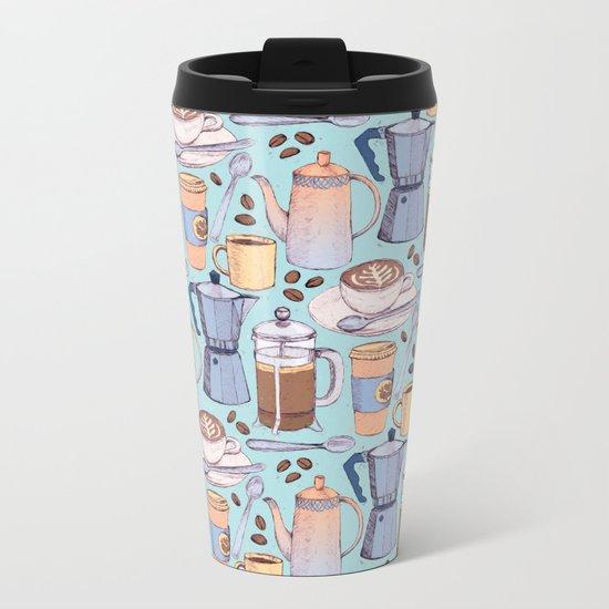 Coffee Love on Blue Metal Travel Mug