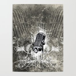 Music, microphone with floral elements Poster