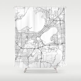 Madison Map White Shower Curtain