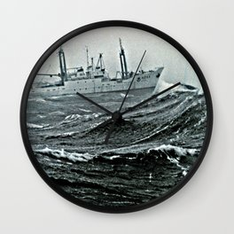 NOAA Ship DELAWARE II in basic crummy weather on Georges Bank Wall Clock