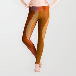 Groovy Wavy Lines in Retro 70s Colors Leggings