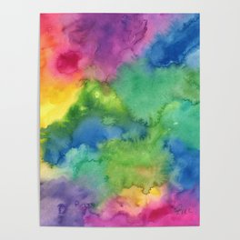 Bright Rainbow Watercolor Abstract Poster