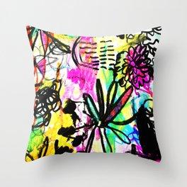 hot pink doodles Throw Pillow